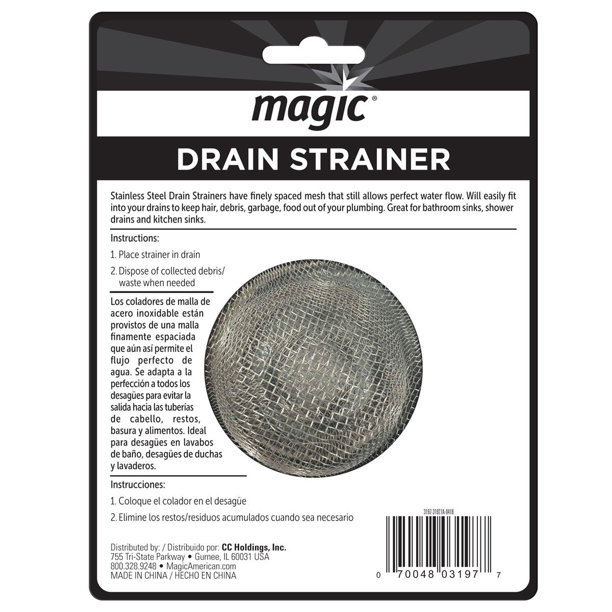 Magic Drain Strainer Back Label