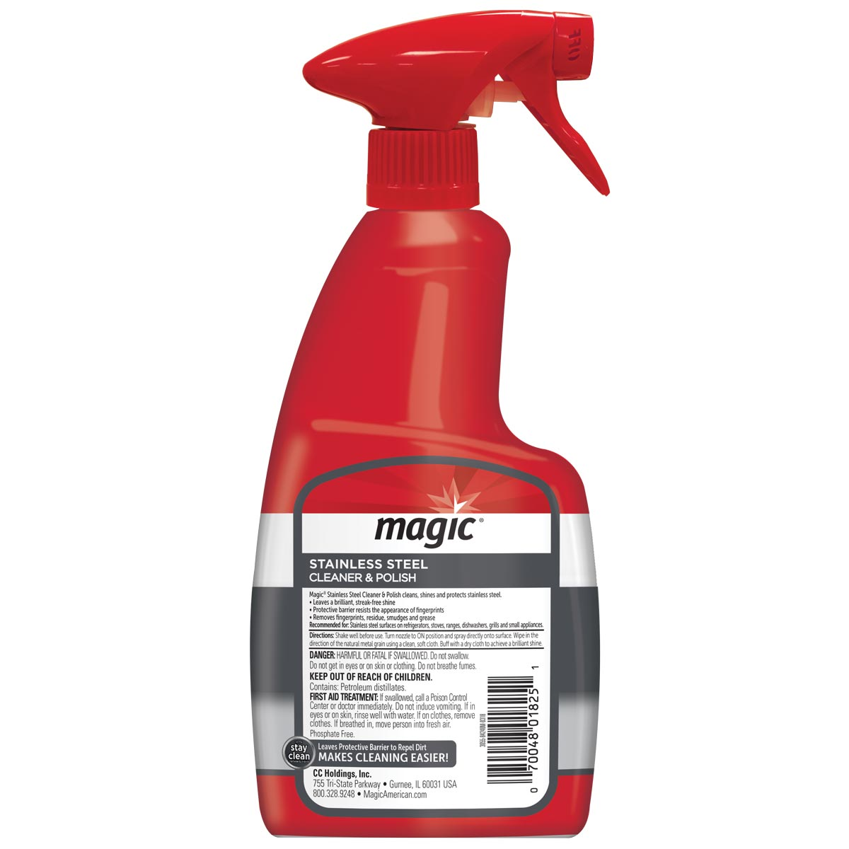 Magic Stainless Cleaner Spray back label