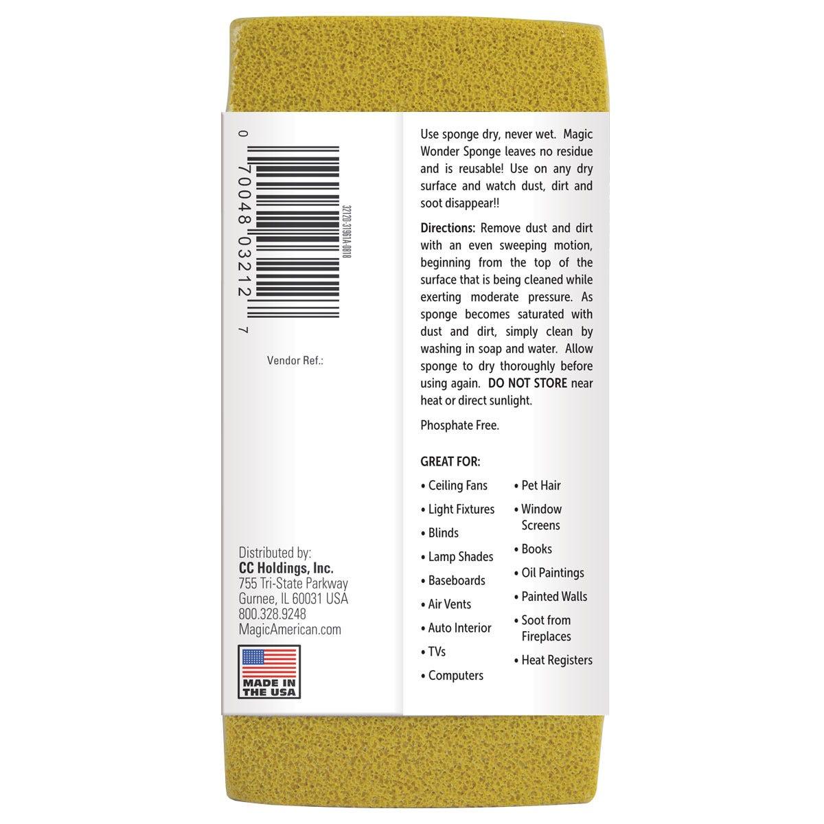 Wonder Sponge back label