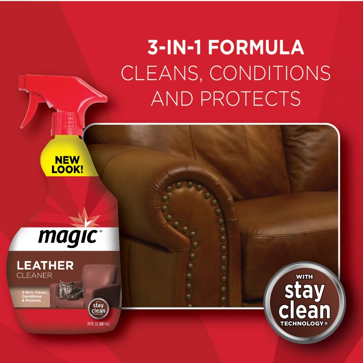 3-in-1 formula for leather cleaning & conditioning