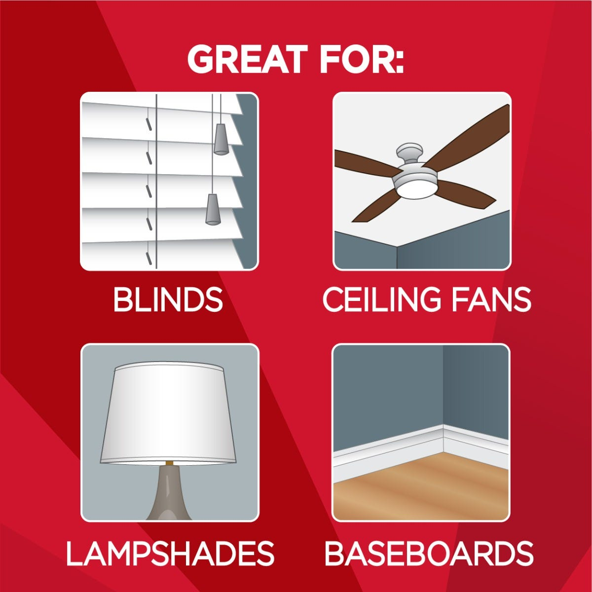 Use on blinds, fans and lamp shades